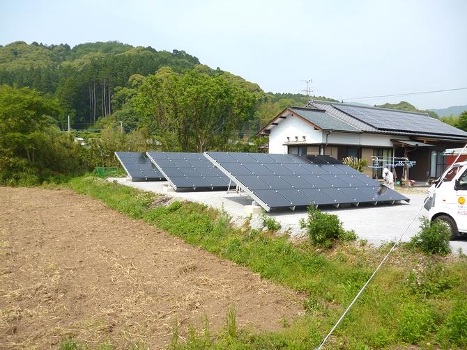 太陽光発電(野立て収益向け)の施工実績「佐伯市N様邸/発電量13.8kw/メーカー:ソーラーフロンティア」